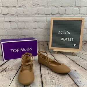 Top Moda ballarina tan flats shoes size 7 new